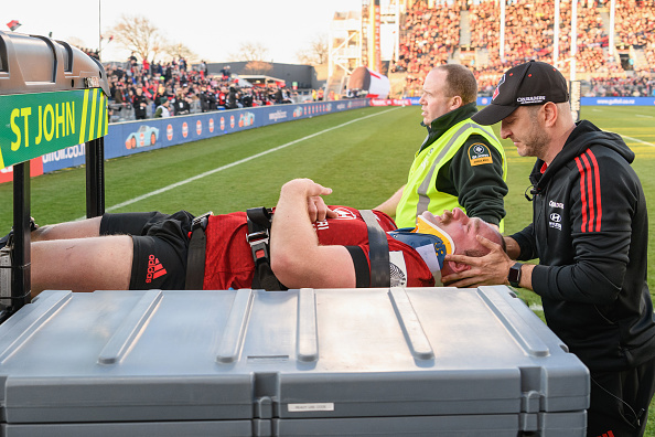 Oliver Jager is taken off the field in the Crusaders win over the Highlanders. Photo: Getty Images