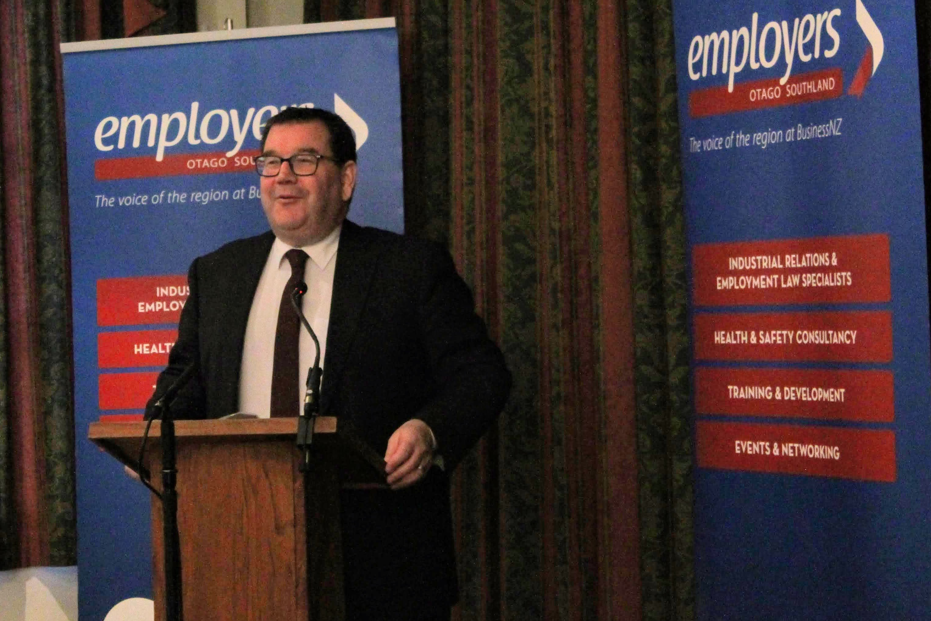 Grant Robertson speaks at a breakfast meeting of the Otago Southland Employers' Association....