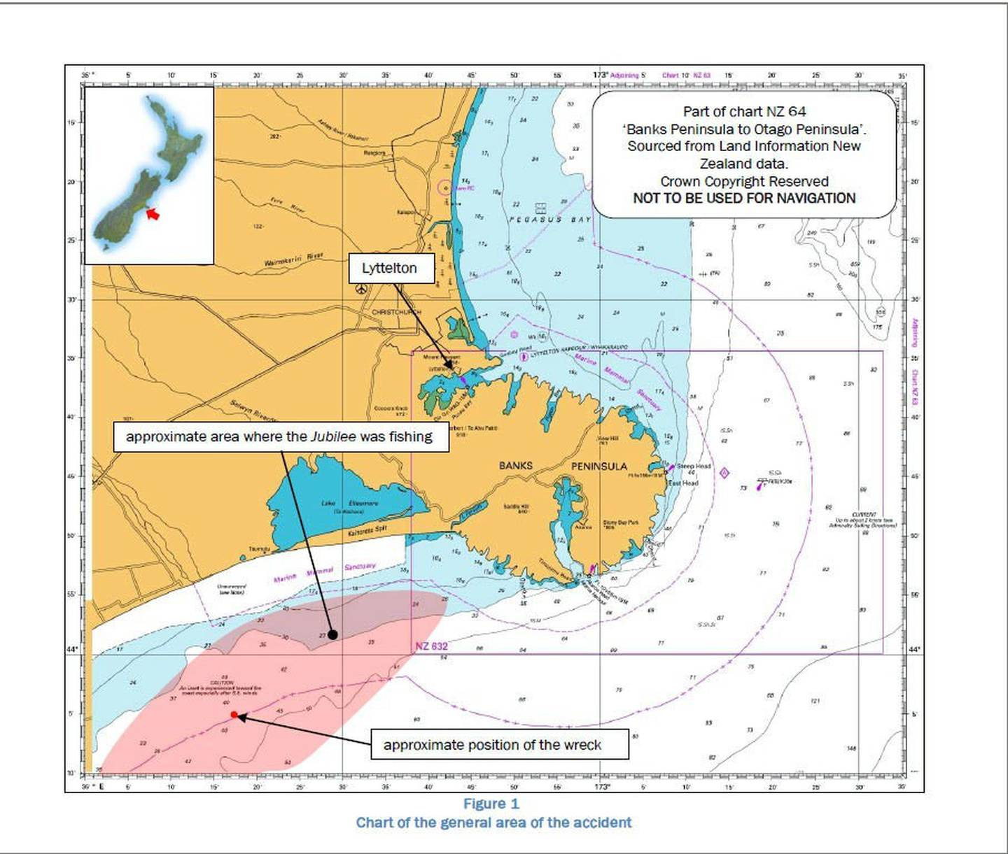 A map included in the TAIC report which shows the approximate location of the ship's sinking....