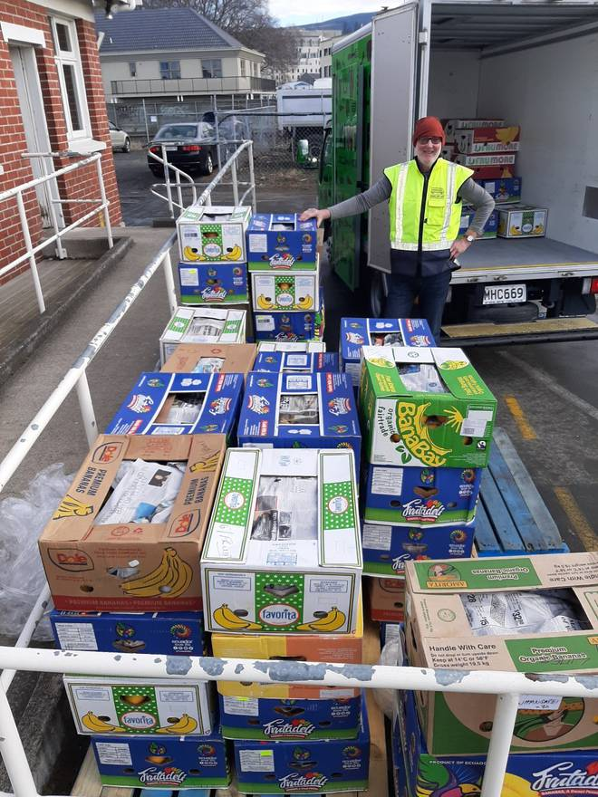 Three pallets of citrus fruit from Whangārei ready to be distributed to people in Dunedin. Photo: NZME