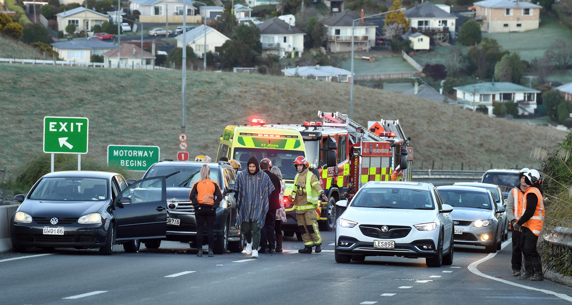 Emergency services were called to the crash about 7.55am. Photo: Stephen Jaquiery