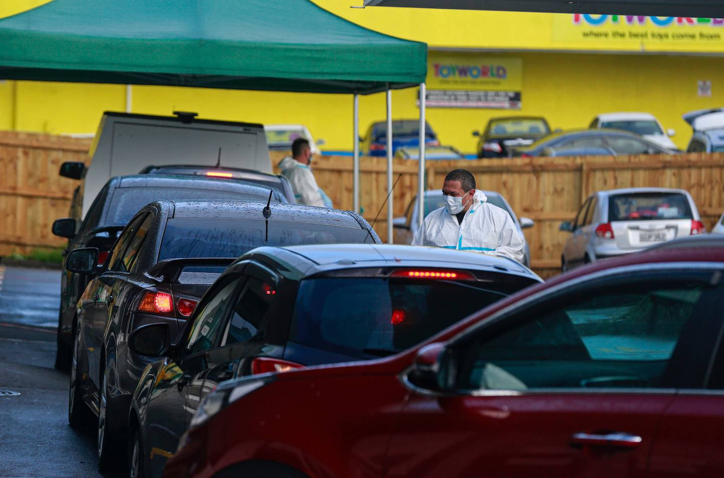A busy morning at the Covid-19 testing station at the corner of Edsel St and Catherine St in...