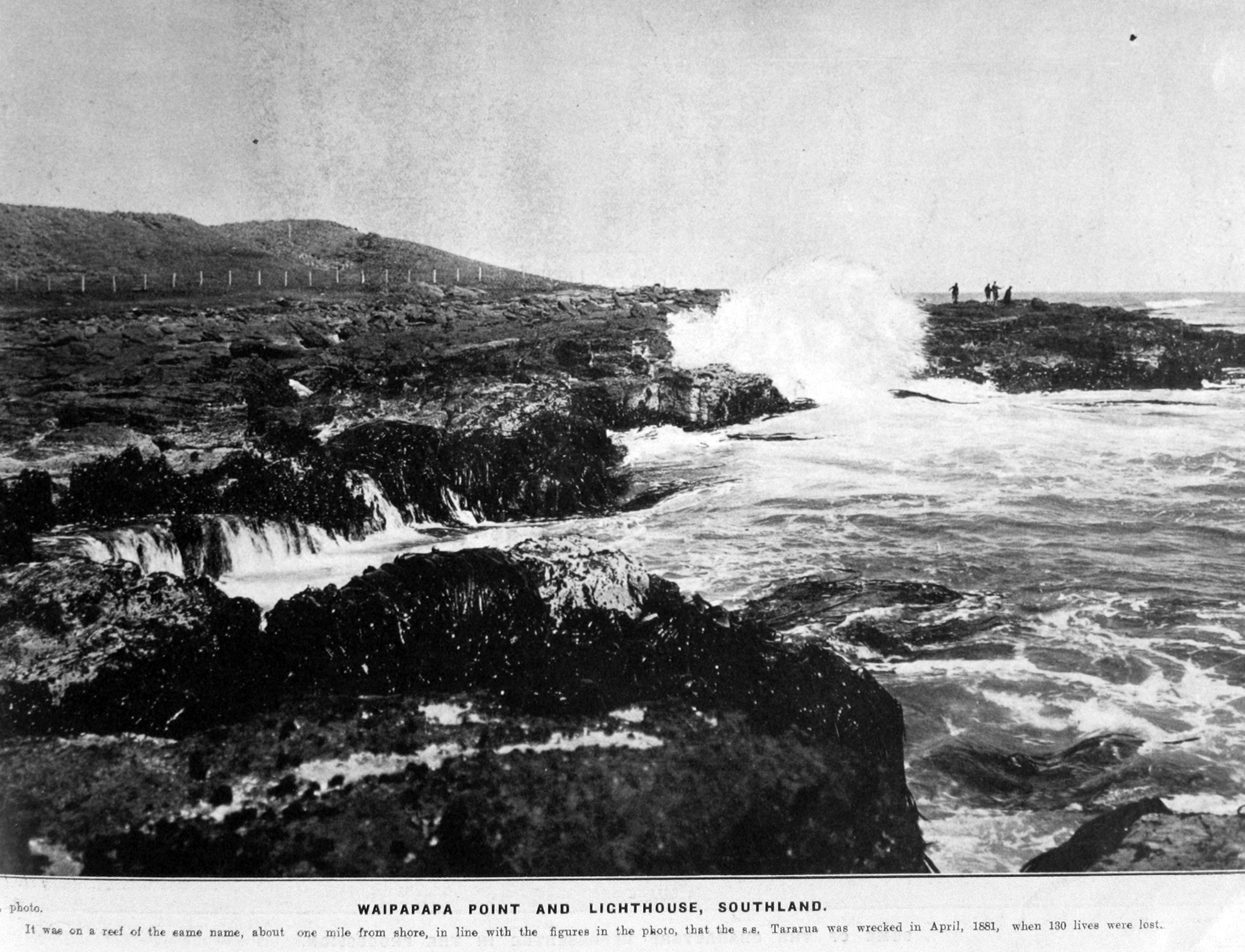 Waipapa Point and lighthouse, Southland. It was on a reef of the same name, about one mile from...