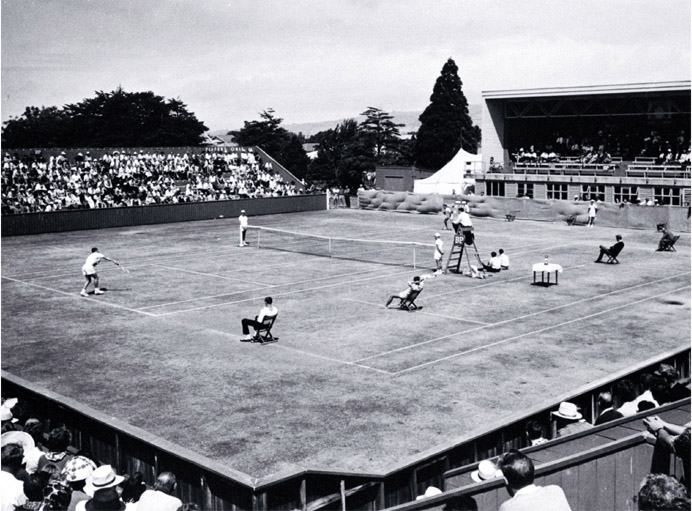 Men's singles match under way at the New Zealand Lawn Tennis Championships at Wilding Park in...