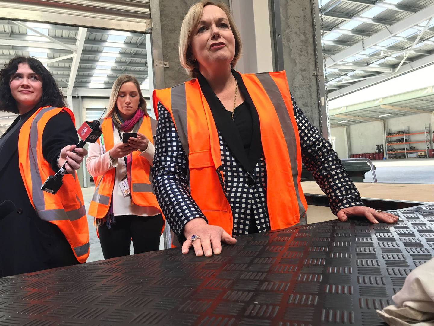 Judith Collins at a business visit in Matamata. Photo: NZ Herald
