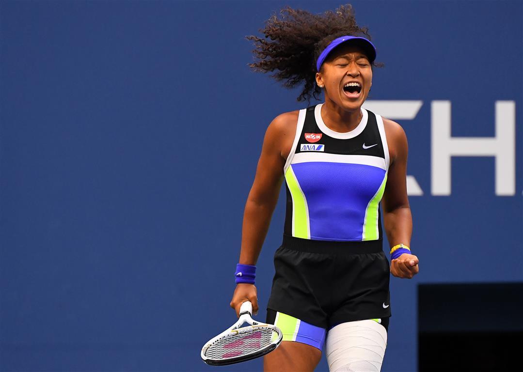 Naomi Osaka reacts during the third set against Victoria Azarenka. Photo: Robert Deutsch-USA...