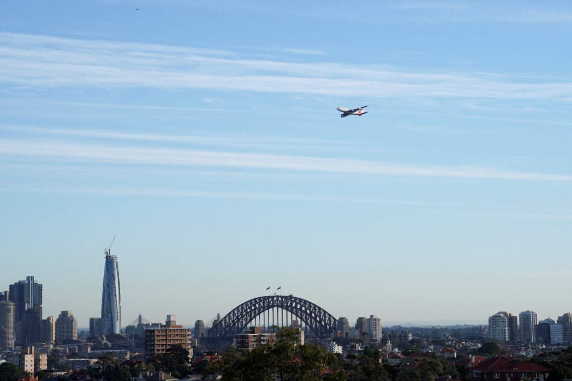 A Qantas jet in the air over Sydney. File photo: Reuters