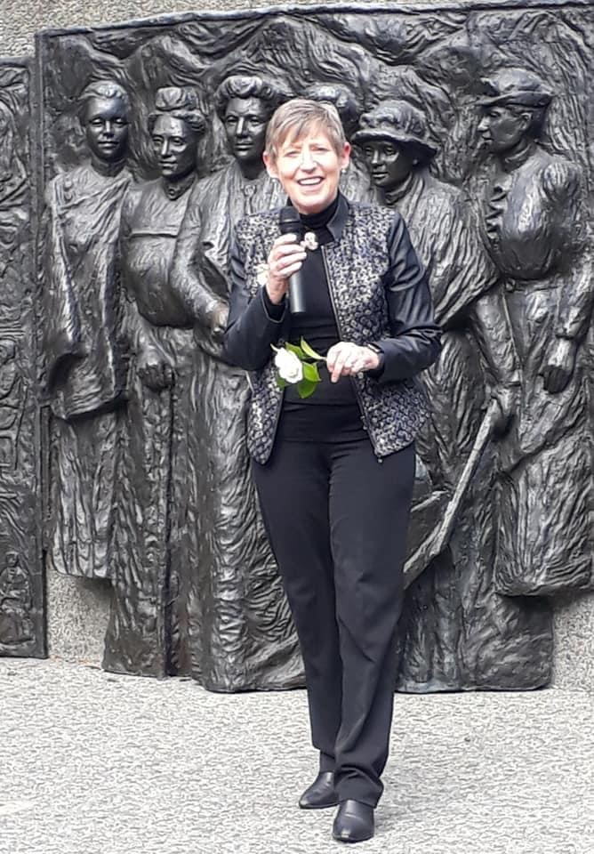 Christchurch Mayor Lianne Dalziel speaking at the Kate Sheppard Memorial on Saturday. Photo:...