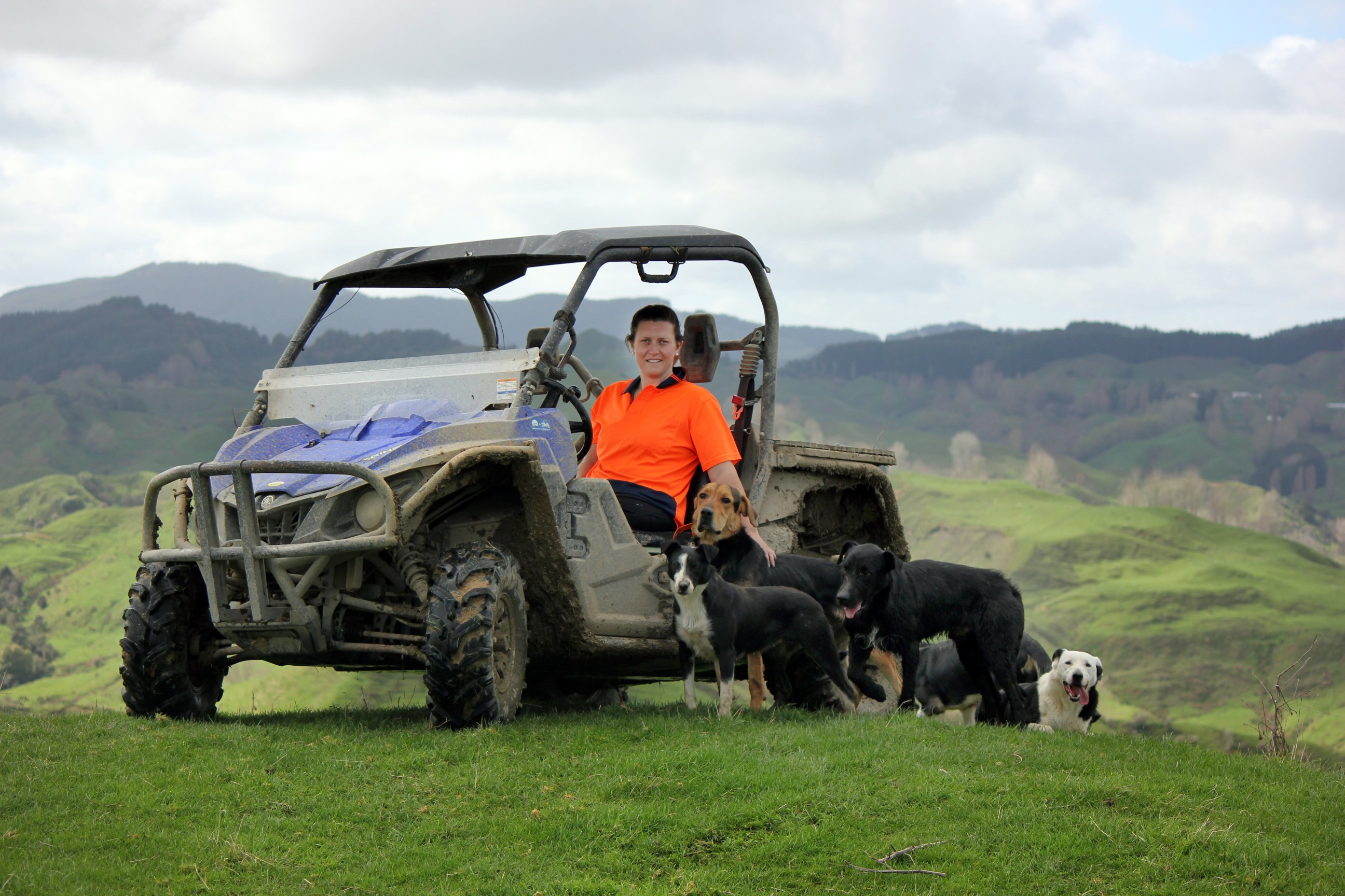 Anita Kendrick out on the farm with her team of dogs. PHOTO: SUPPLIED