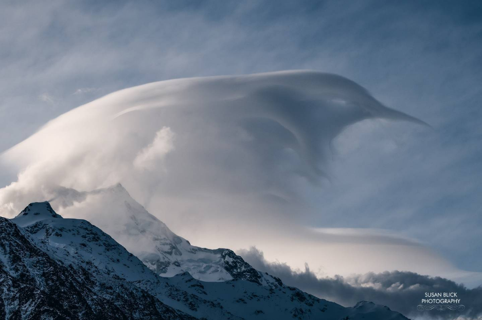 Susan Blick captured a tui forming in the clouds over Aoraki on Friday night. Photo: Susan Blick