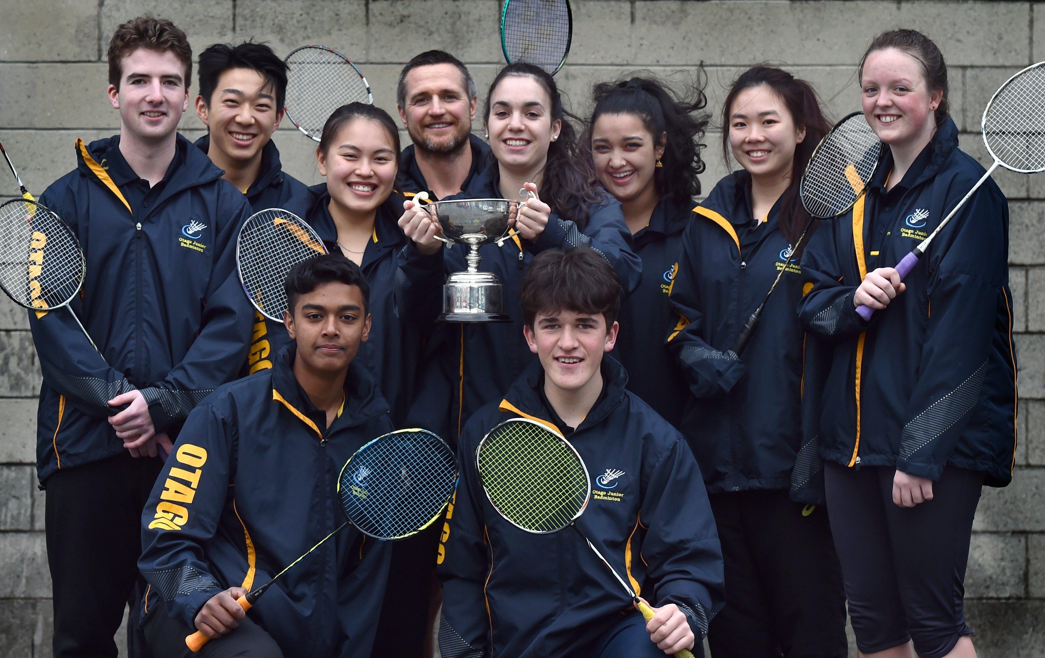 The Neill Cup-winning Otago badminton team of (back row, from left) Josh Kellet, Michael Zhang,...