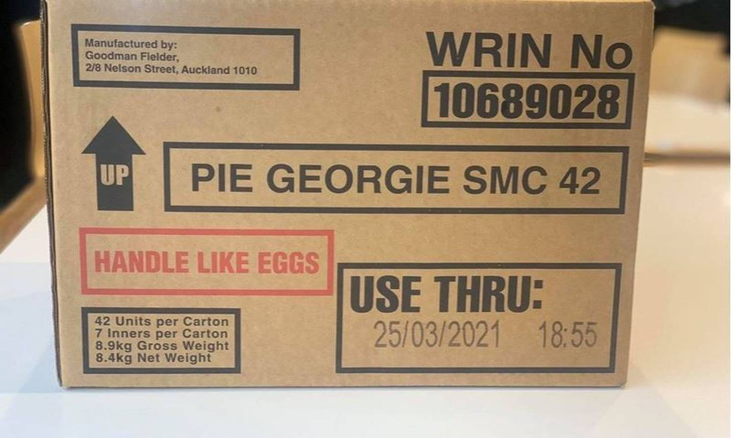 The last ever box of 42 frozen Georgie Pies. Photo: Trade Me