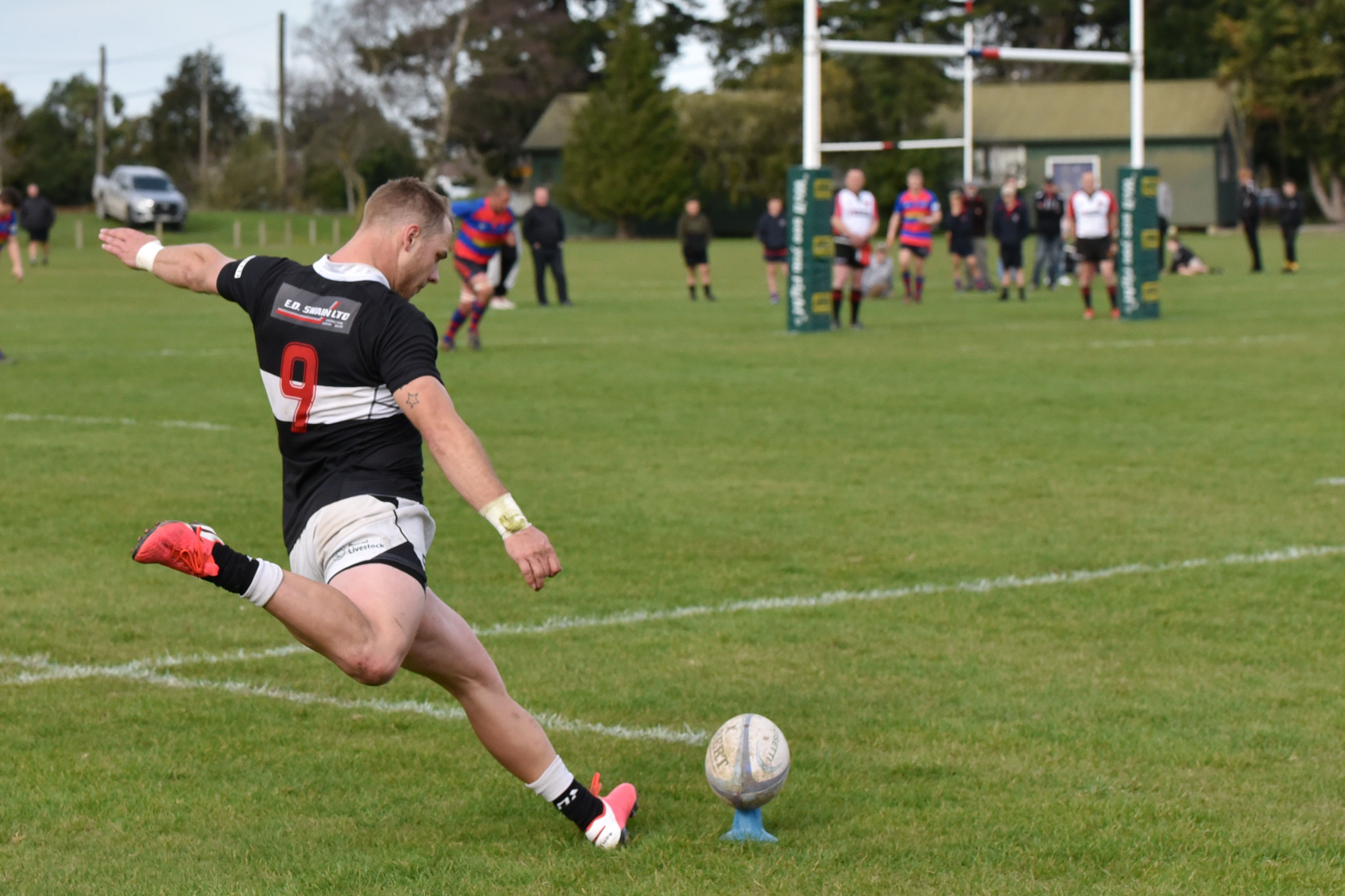 Waihora's Harry Kirk attempts to nail a conversion. Photo: Karen Casey