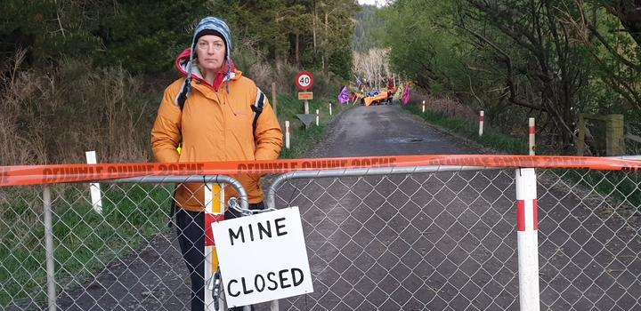 Extinction Rebellion activist Julie Thompson at the Bathurst mine in Canterbury. Photo: RNZ /...