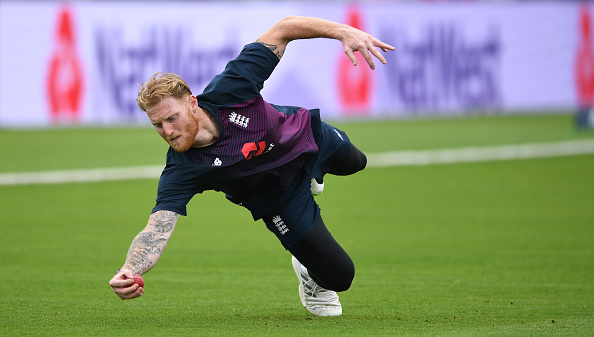 Ben Stokes takes part in a catching drill. Photo: Getty Images