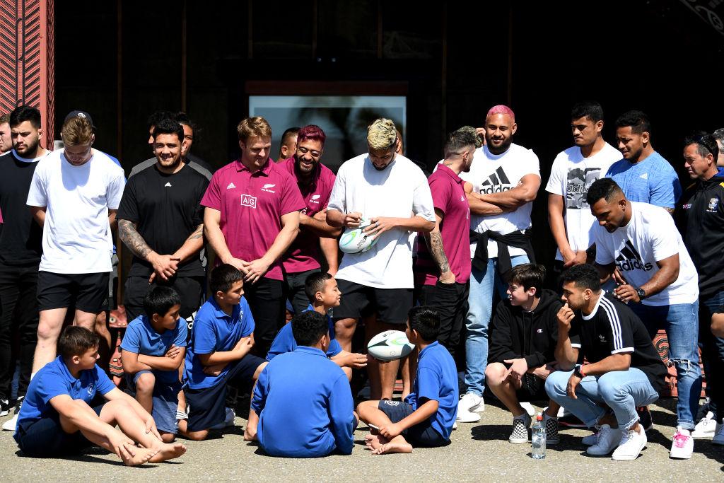 All Blacks players visit Mataatua Marae in Whakatane today. Photo: Getty