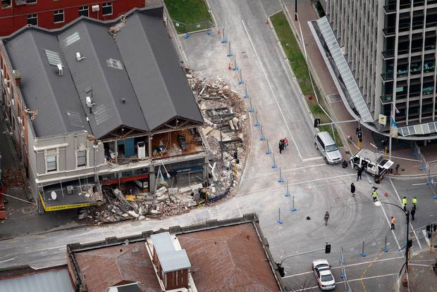 This aerial photograph, taken on September 7, 2010, shows damage to buildings on Manchester St in...