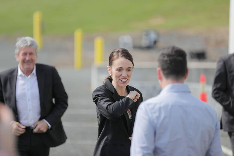 Prime Minister Jacinda Ardern visiting the Green Valley Dairy Company at Mangatawhiri, Waikato,...