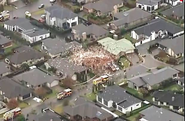 Scene of a serious gas explosion in the suburb of Northwood in Christchurch. Photo: NZH File