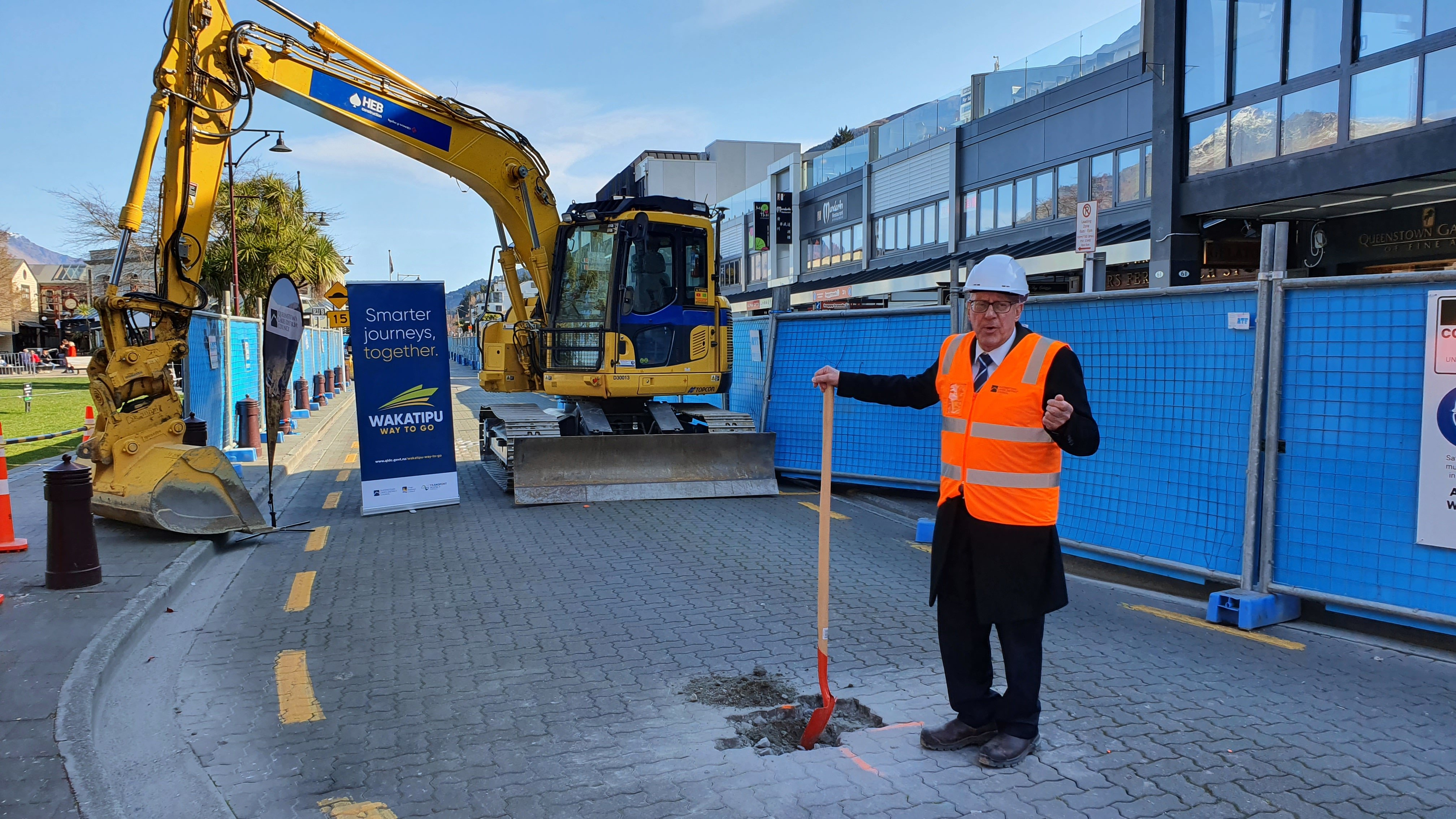 Queenstown Lakes Mayor Jim Boult puts shovel to earth yesterday when launching a major town...