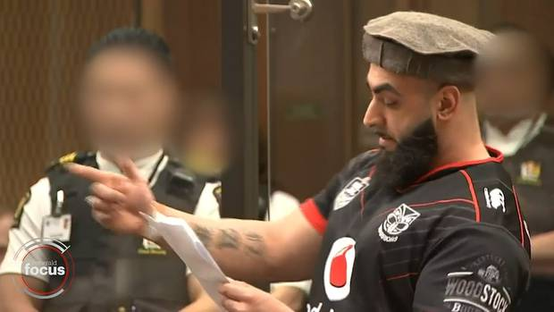 Ahad Nabi donned a Warriors jersey for his victim impact statement. Photo: NZ Herald Focus