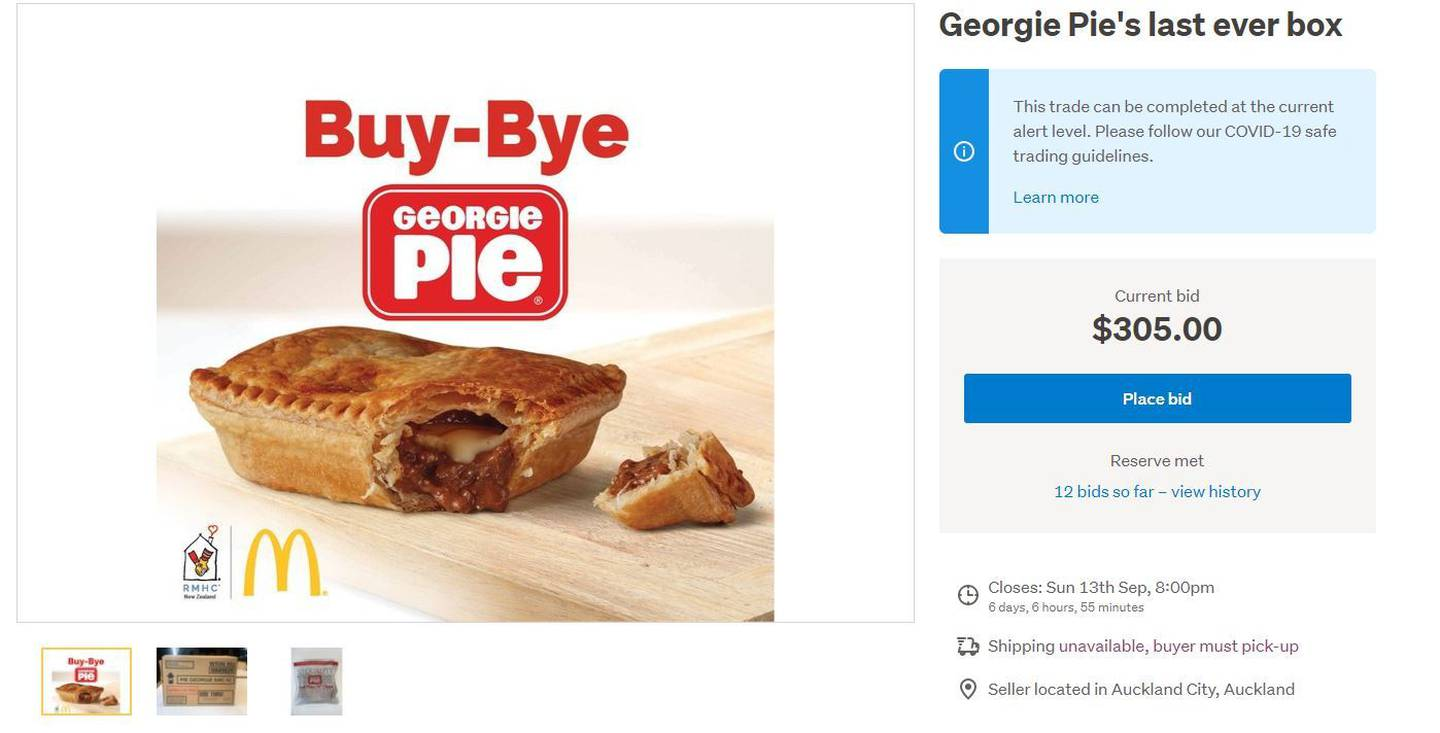 Here is your chance to grab the last ever box of 42 frozen Georgie Pies. All funds will go to...