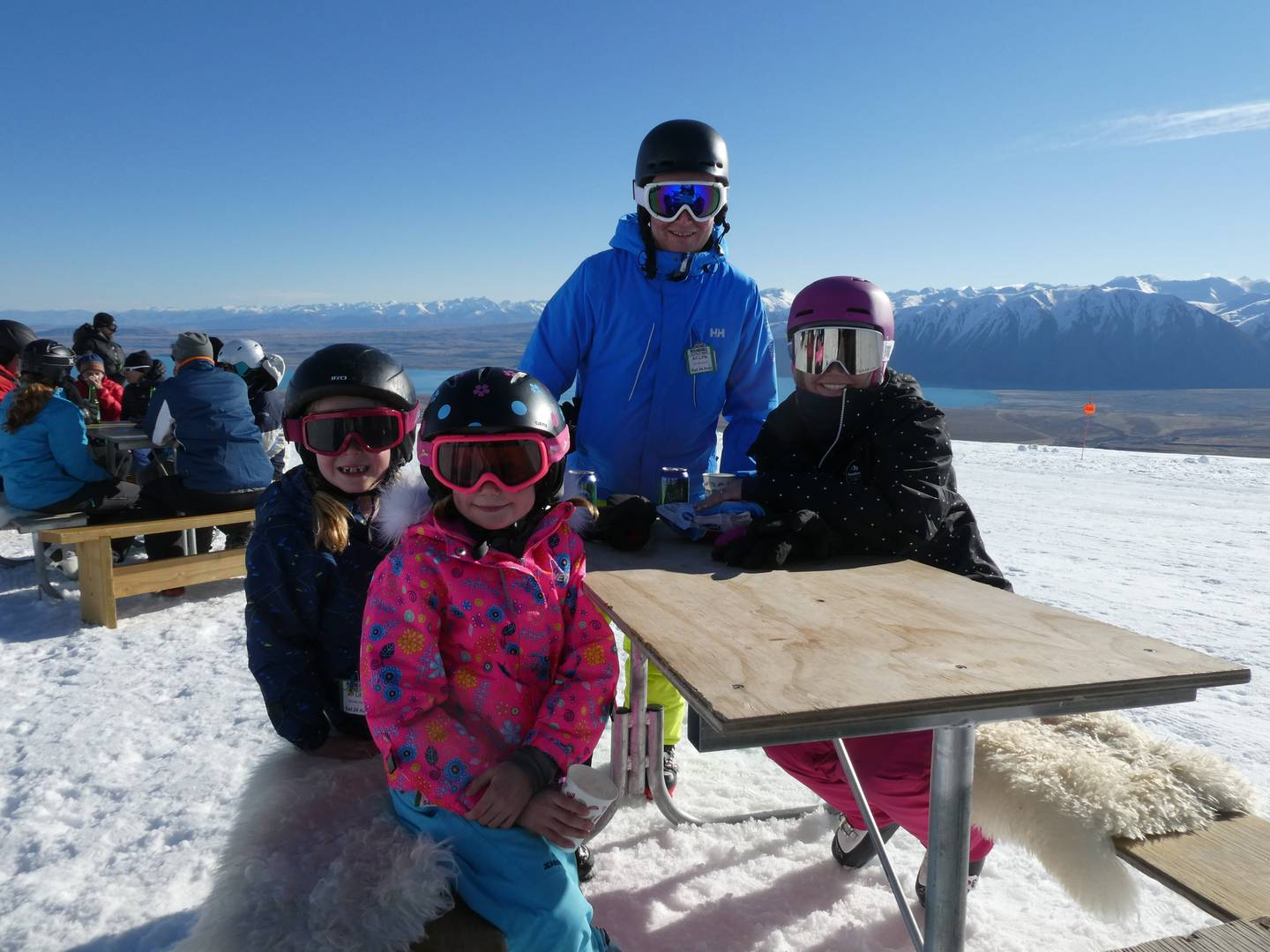 Family relaxation time at Roundhill ski field's Von Brown Mountain Cafe. Photo: Huw Kingston / NZH