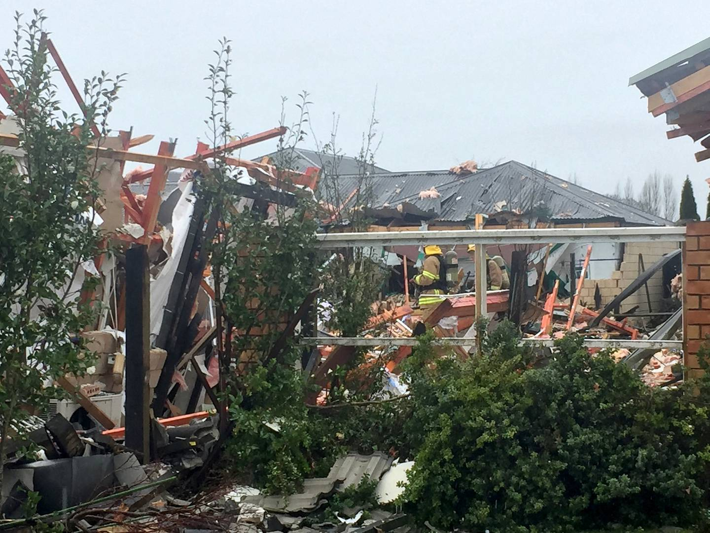 Scene of a serious gas explosion in the suburb of Northwood in Christchurch today. Photo: Amber...