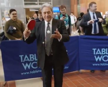 Winston Peters took to the table tennis arena to show off his skills. Photo: NZ First