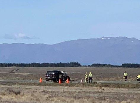 Emergency services at the crash scene on Saturday. Photo: Supplied