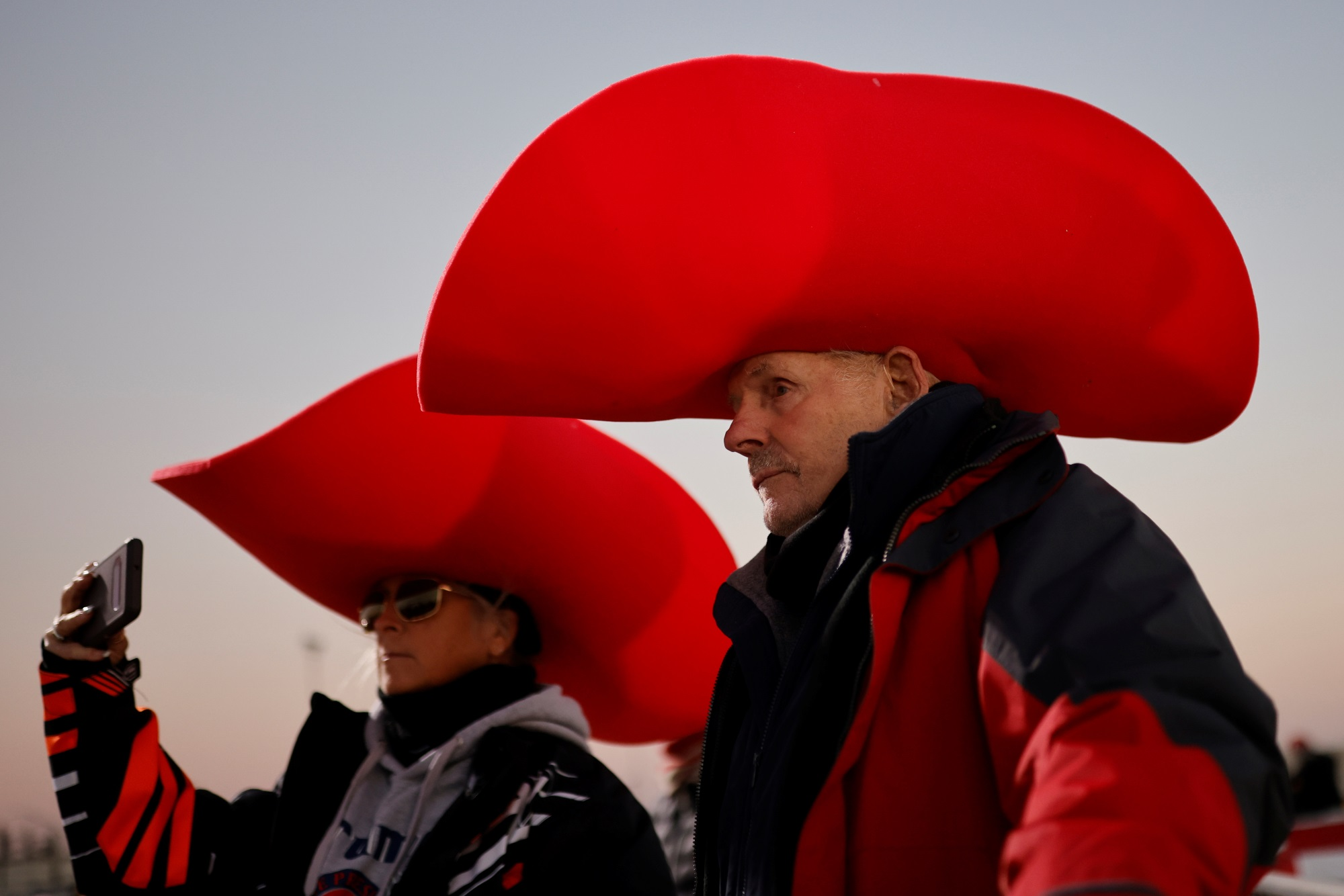 Supporters of Donald Trump at a rally at Rochester International Airport in Minnesota. Photo:...