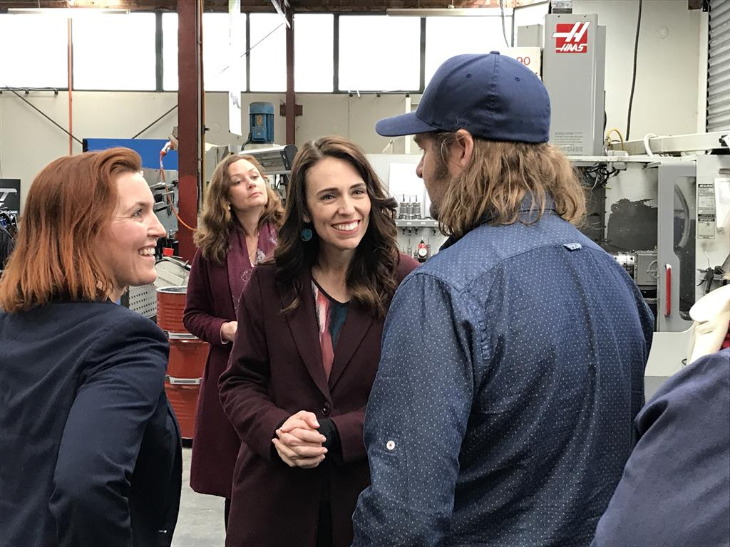 Prime Minister Jacinda Ardern visits precision engineering business United Machinists in Dunedin....