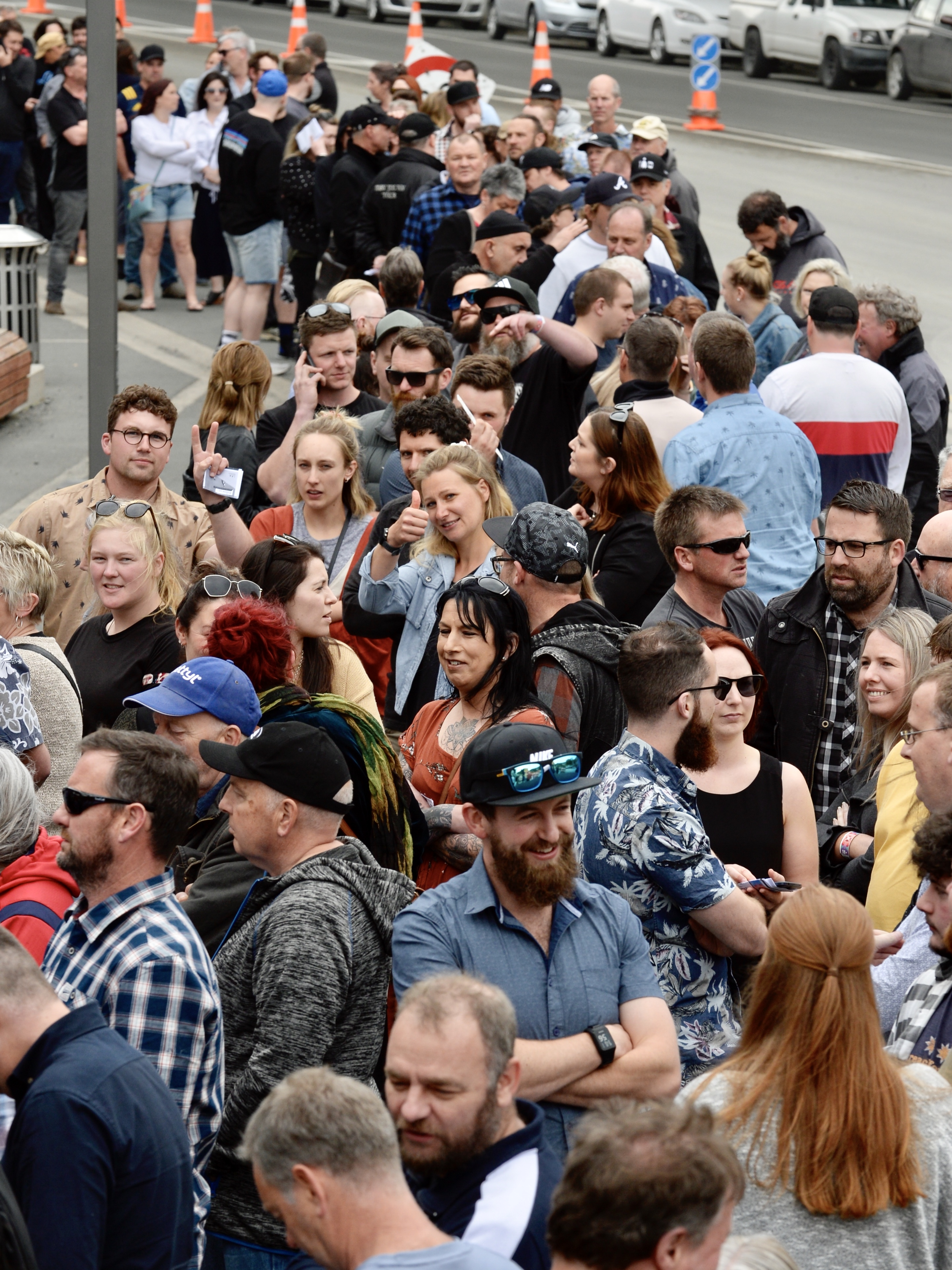 Hundreds are lining up to get into the stadium for this year's Dunedin Craft Beer and Food Festival. Photo: Gerard O'Brien