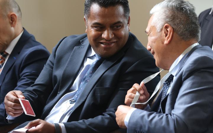 Minister Kris Faafoi and Te Arawa Covid-19 Response Hub spokesperson Monty Morrison. Photo: supplied