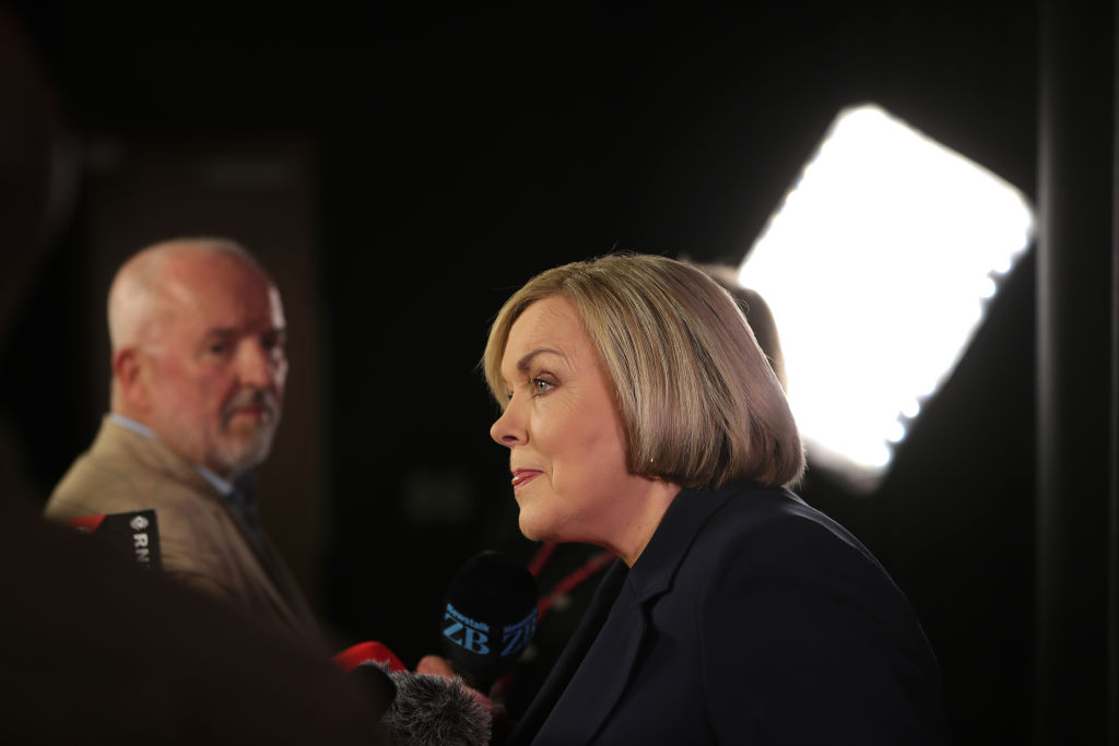 National leader Judith Collins speaks to media after lat night's debate. Photo: Getty