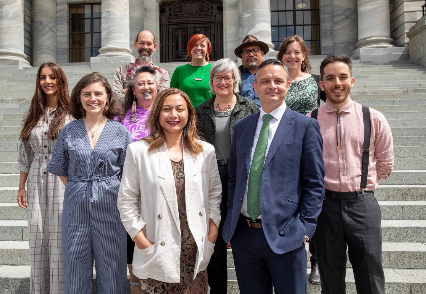 Greens co-leaders Marama Davidson and James Shaw with their new caucus. Photo: NZ Herald