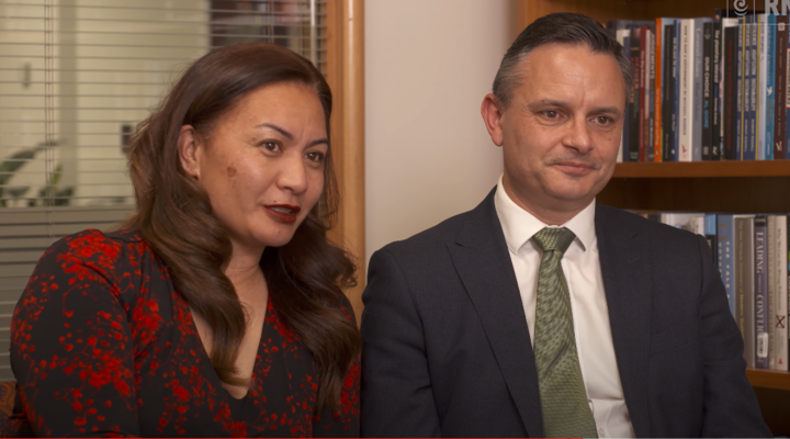 Co-leaders Marama Davidson and James Shaw. Photo: RNZ