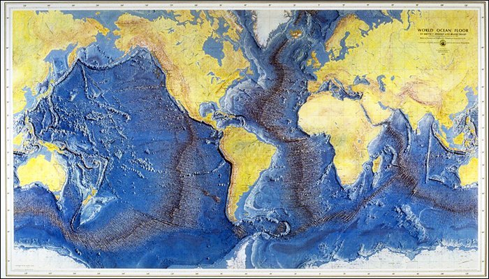 The Heezen and Tharp 1977 World Ocean Floor Map was distributed to millions of classrooms by...