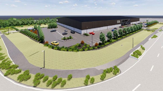 A digital visualisation of the planned Netsal sports centre. Image: CCC