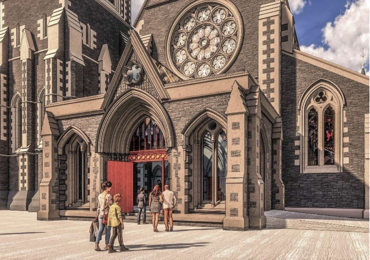 This is what the western porch (left) of the Cathedral will look like and what the south vestry ...