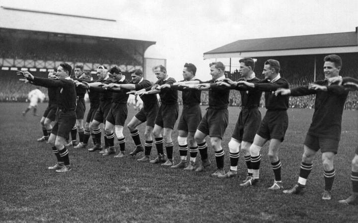 The 1924 Invincibles perform the haka at Twickenham Stadium in London. Photo: Webbs (with...
