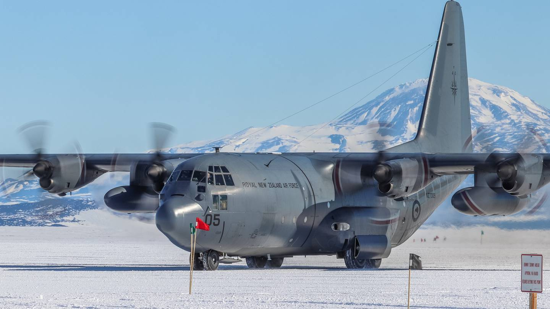 A RNZAF C-130 Hercules in Antarctica. Photo: Supplied via NZH