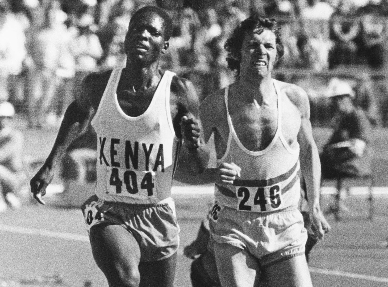 Jipcho battles it out with England's Brendan Foster in the 5000m at the 1974 Christchurch...
