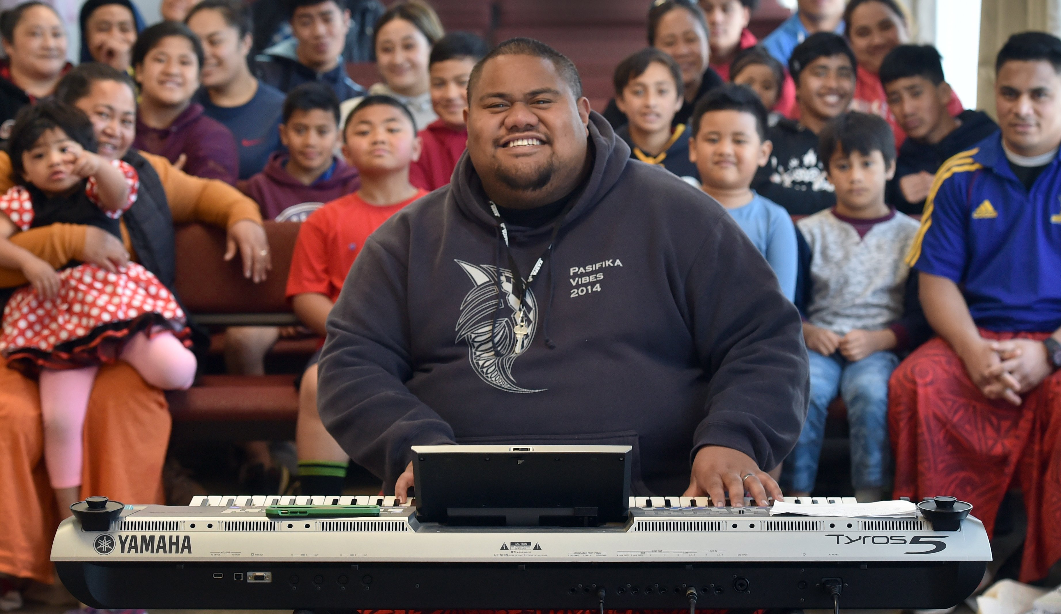 Gospel singer Lani Alo at the Congregational SamoanChurch, EFKS Dunedin, in Macandrew Rd, yesterday. PHOTO: PETER MCINTOSH