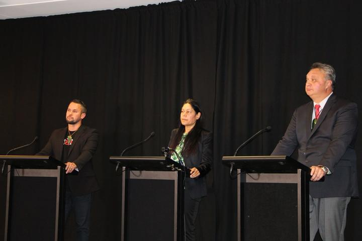 The candidates running in Te Tai Tonga at a Ngāi Tahu hosted debate on Tuesday (L-R) the Māori...