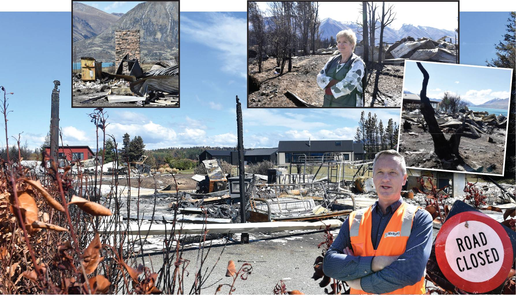 The scope of damage caused by the fire at Lake Ohau Village over a week ago is being realised by residents as they return to their homes. Above: Waitaki District Council recovery manager Lichelle Guyan; below: Waitaki Mayor Gary Kircher. PHOTOS: PETER MCI