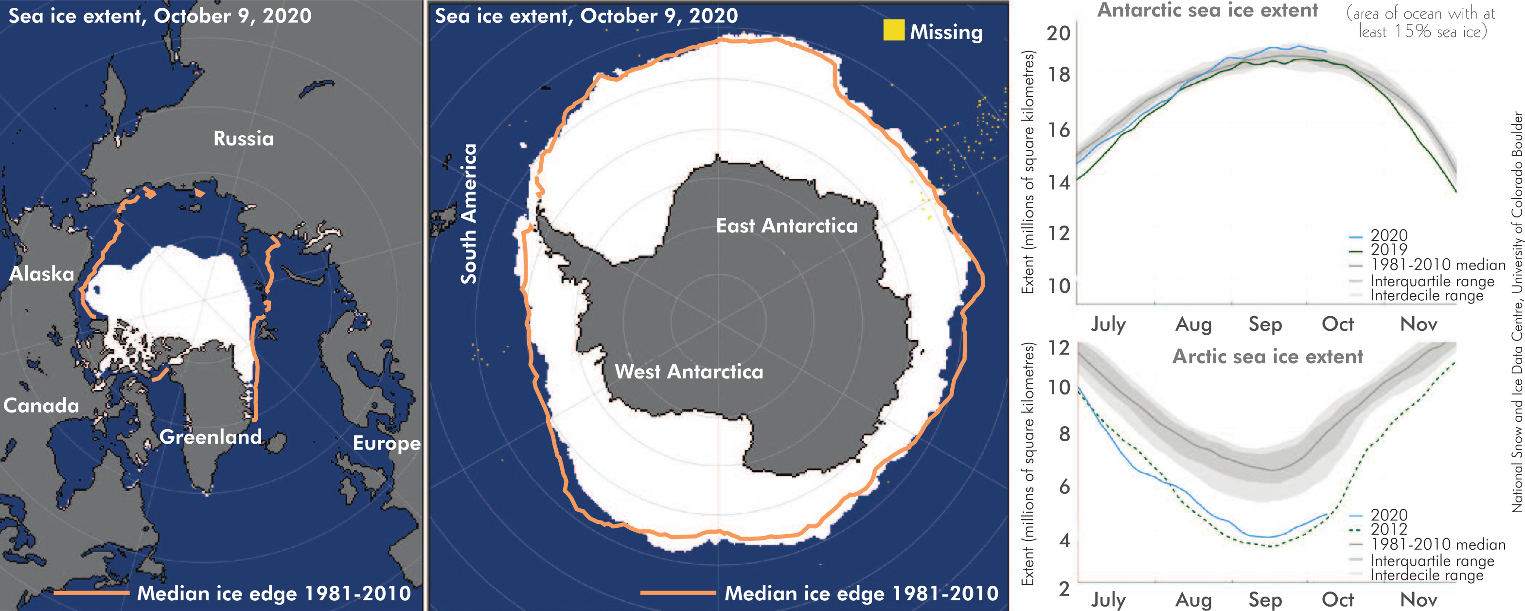 A combination picture shows a segment of the largest ice shelf in the Arctic breaking away. PHOTO...