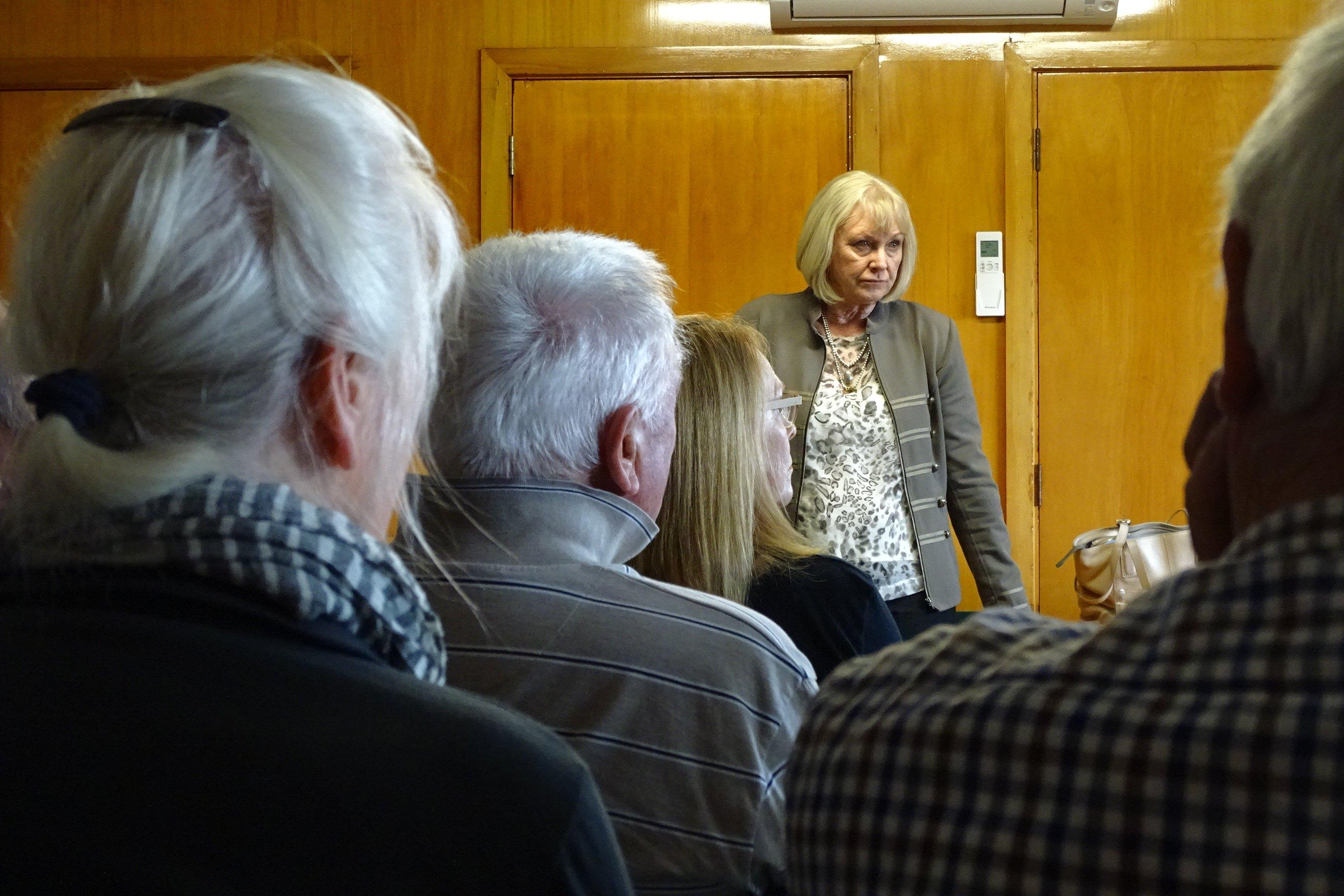 Waitaki MP Jacqui Dean meets Tarras residents yesterday to hear first hand their views on the...