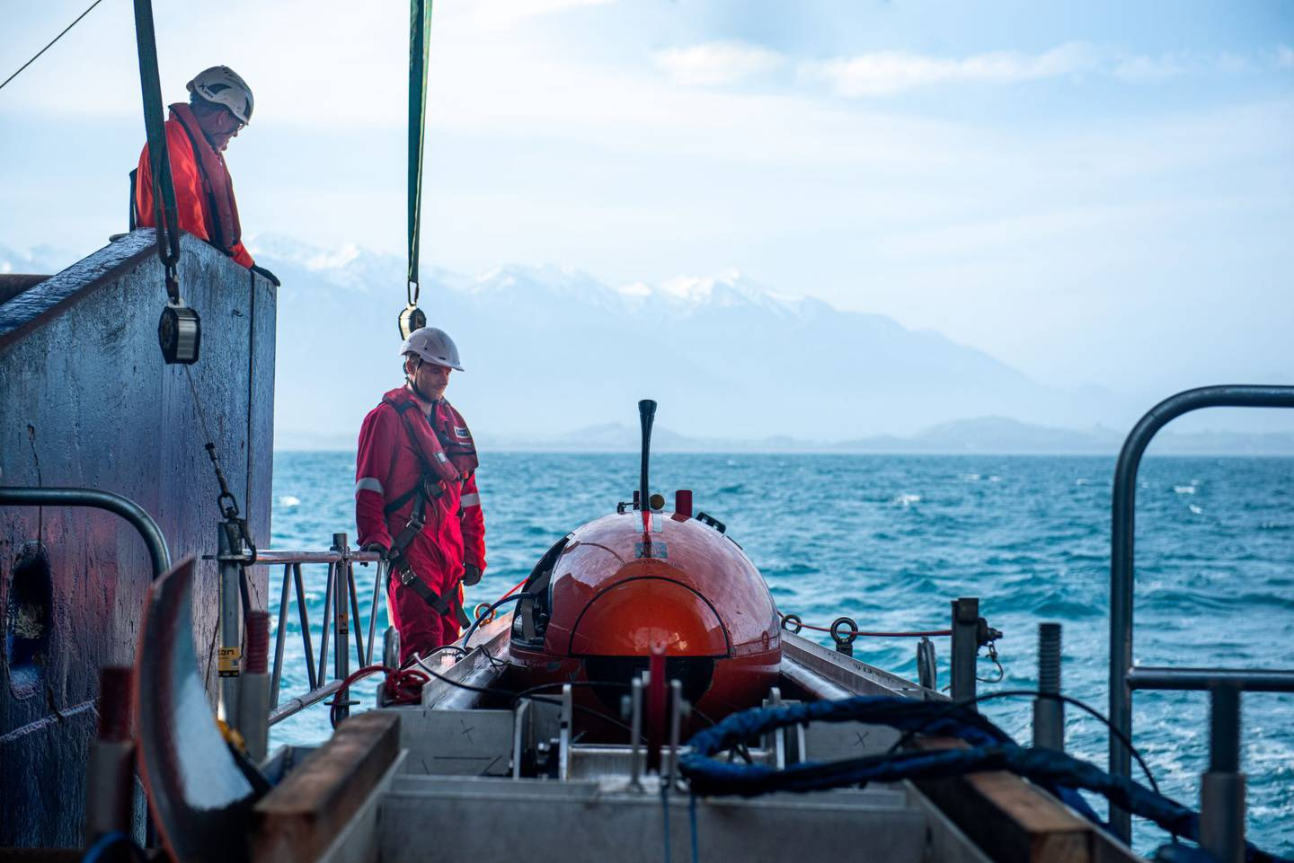 The underwater robot is deployed from the back of Niwa research vessel Tangaroa into the Kaikoura...