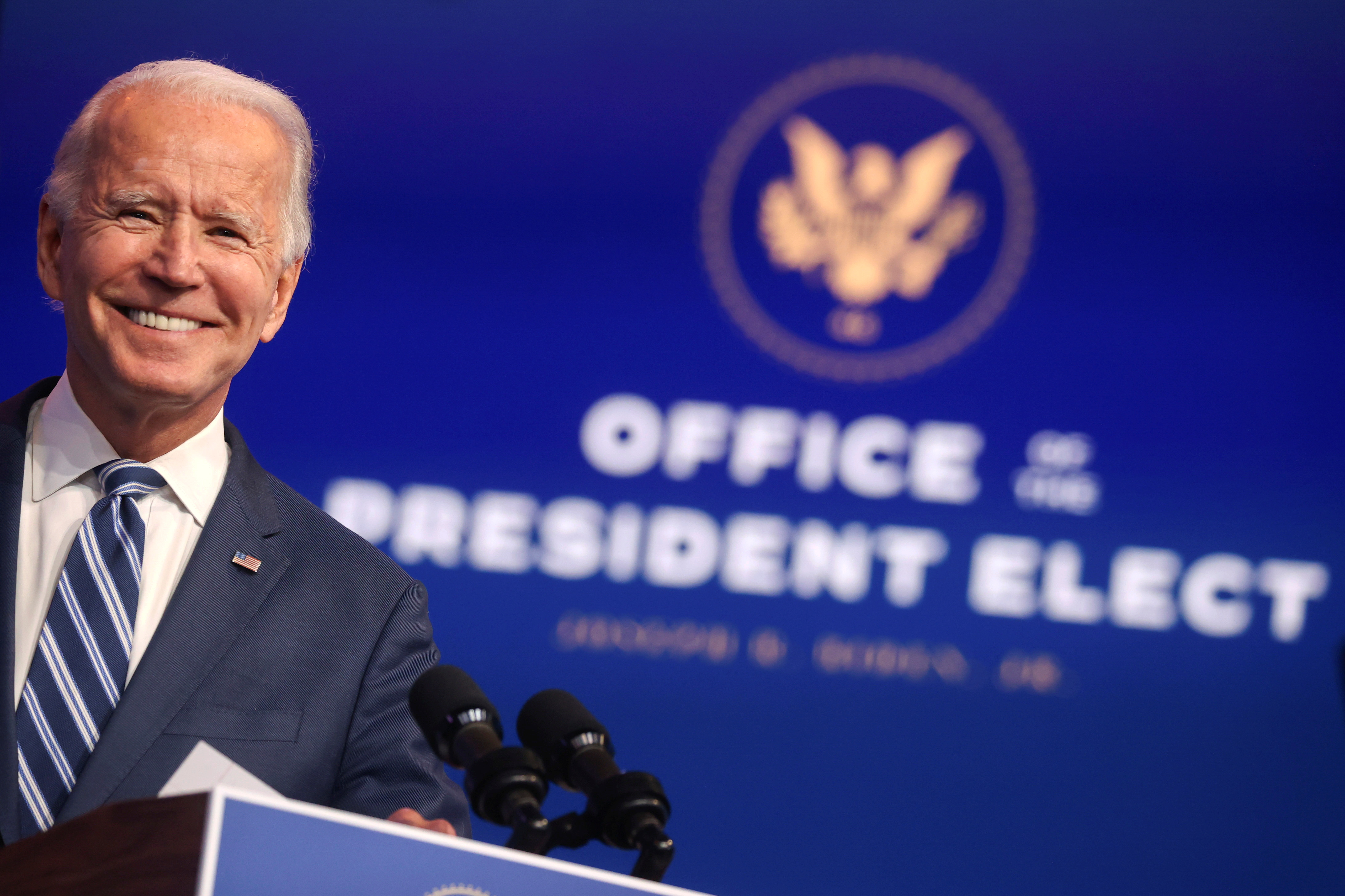 """President-elect Joe Biden says it is an """"embarrassment"""" that Trump has not conceded the election...."""